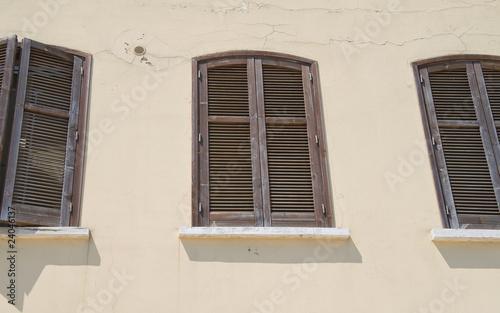 Wooden shutters.