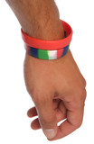 Charity wristbands on wrist cutout poster