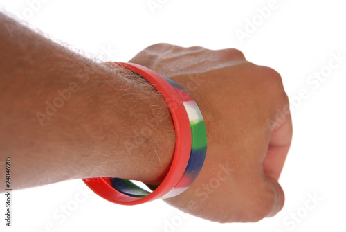 Charity wristbands on wrist cutout