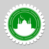 Mosque & Ramadan Moon Sign Label poster