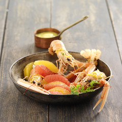 langoustines with citrus fruit