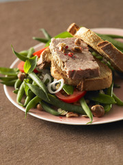 green bean salad and farmhouse pâté on sliced bread