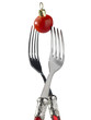 two forks with red christmas decoration
