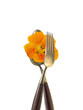 fork and spoon with orange nasturtium