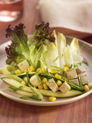 chicory,cucmber and tofu salad