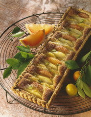 pear and citrus fruit tart