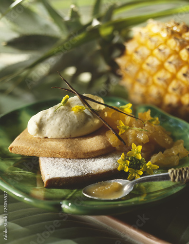 stewed victoria pineapple shortbread tartlet