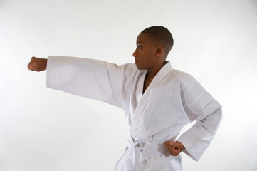 Ethnic Teenager in a Karate Pose