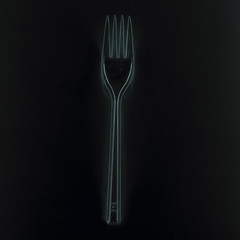 fork on a black background