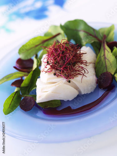 piece of cod with beetroot sprouts