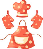 kitchen glove and apron and chef hat poster