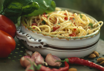 spaghettis with red hot peppers