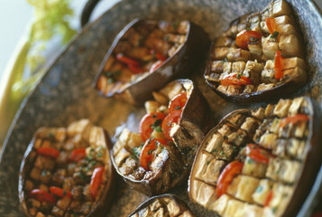 grilled squared eggplants with tomatoes
