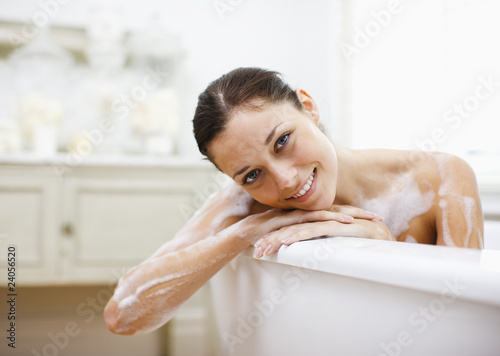 Woman enjoying bubble bath