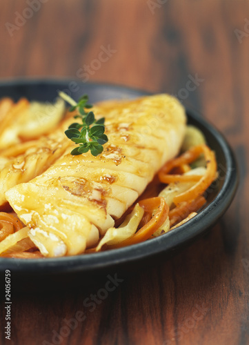 fish caramelized with maple syrup and orange peppers
