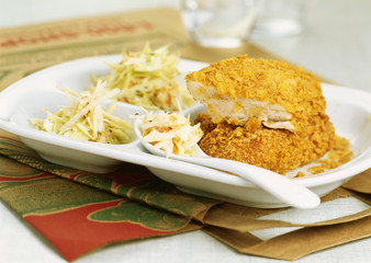 crispy fried chicken and coleslaw