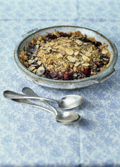 summer fruit and two almond crumble