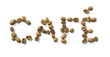 café written with coffee beans