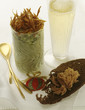 herb and green apple mousse ,thinly sliced fried duck magret and a glass of champagne