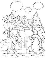hedgehog, hare and squirrel build their log house