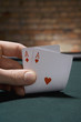 Close up of pair of aces in casino