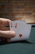 Close up of pair of aces in casino