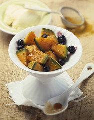 melon and blackcurrant fruit salad