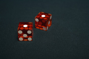 Close up of dice in casino
