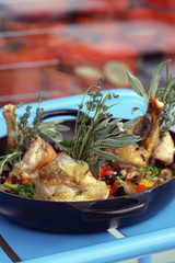 roast guinea-fowl with herbs