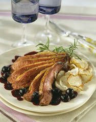 duck magret with bilberries and turnip crisps