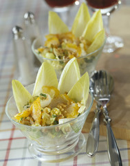 chicory,haddock and walnut salad
