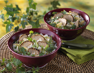 pork with sesame seed crust and rice salad