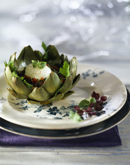 surprise artichoke with hard-boiled egg and crushed tomatoes with coriander