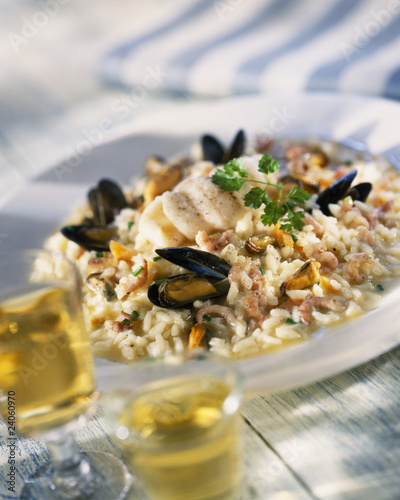 sole and mussel risotto