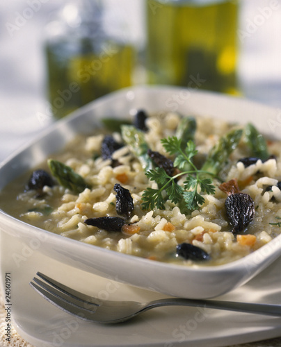 morel and green asparagus risotto