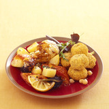 roast chicken with lemon,chicken and chickpea croquettes