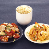 tuna with garlic and tomatoes,brown rice,shrimps with coconut,carrots and parsnips