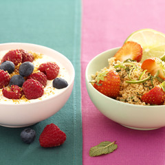 strawberry tabbouleh,coconut nage with raspberries and bilberries