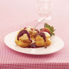 profiteroles with summer fruit puree