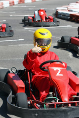 smiling young  racer