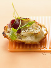 chicory and reblochon tartlet