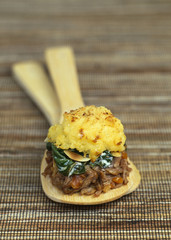 minced duck and spinach hachis