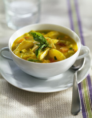 poulard hen stew with pastis and basil