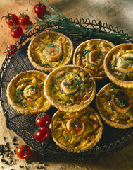 individual two salmon quiches