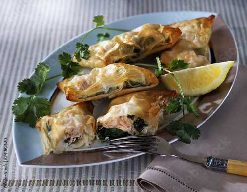 salmon and herb filo pastry pies