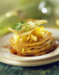 pancake and pan-fried apple mille-feuille