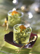 verrine of guacomole and salmon roe