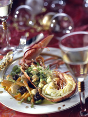 lobster with herbs and young vegetables
