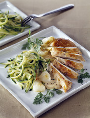 sliced chicken breast with lemoned zucchinis