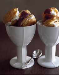 iced fromage blanc profiteroles